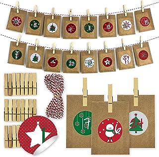 comprar comparacion Papierdrachen Calendario de Adviento de Bricolaje para el llenado - Calendario de té para Colgar con 24 Pegatinas de númer...