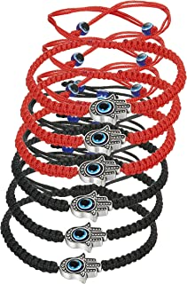 LOYALLOOK 6pcs Braided String Kabbalah Bracelets Rotating Evil Eye Hamsa Hand for Protection Bracelet Red/Black String