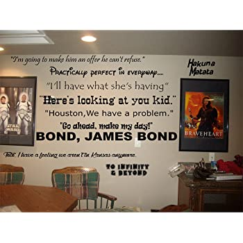 Amazon Com Walls With Style Famous Movie Sayings For Home Theater Room Vinyl Wall Decal Black Or White Black Home Kitchen