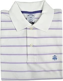 Men's Slim Fit Performance Pique Striped Polo Shirt White Purple (X-Large)