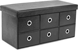 BirdRock Home Storage Bench Ottoman with Drawers - Foldable Storage 6 Cubby Drawer Footstool - Entryway Bedroom Bench - Black