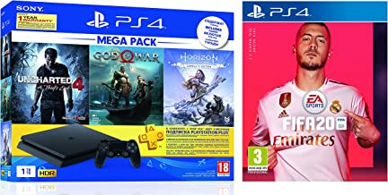 Sony PS4 1 TB Slim Console (Free Games: God of War/Uncharted 4/Horizon Zero Dawn) + FIFA 20(PlayStation 4)