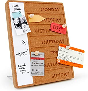 Suck UK Cork Whiteboard Weekly Planner   White Board Organiser   Office Accessories   Weekly Desk Planner