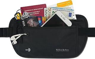 Cinturón de Viaje para Dinero + Bloqueador RFID de Wilford & Sons – Riñonera con 3 Bolsillos Grandes | Plano, ceñido, hidrófugo, para Dinero, Tarjetas, Pasaporte | Money Belt para Viajar, Deporte