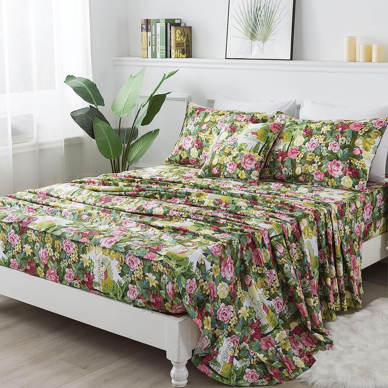 FADFAY Shabby Floral Sheet Set King Size 100% Cotton Soft Vintage Garden Flower Green Leaves Bed Sheet Elegant Pink Peony Rose Cottage Printed Deep Pocket Fitted Sheet 17.5 inch 4 Piece