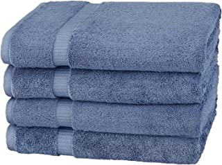 Amazon Brand – Pinzon Organic Cotton Bath Towel, Set of 4, Indigo Blue