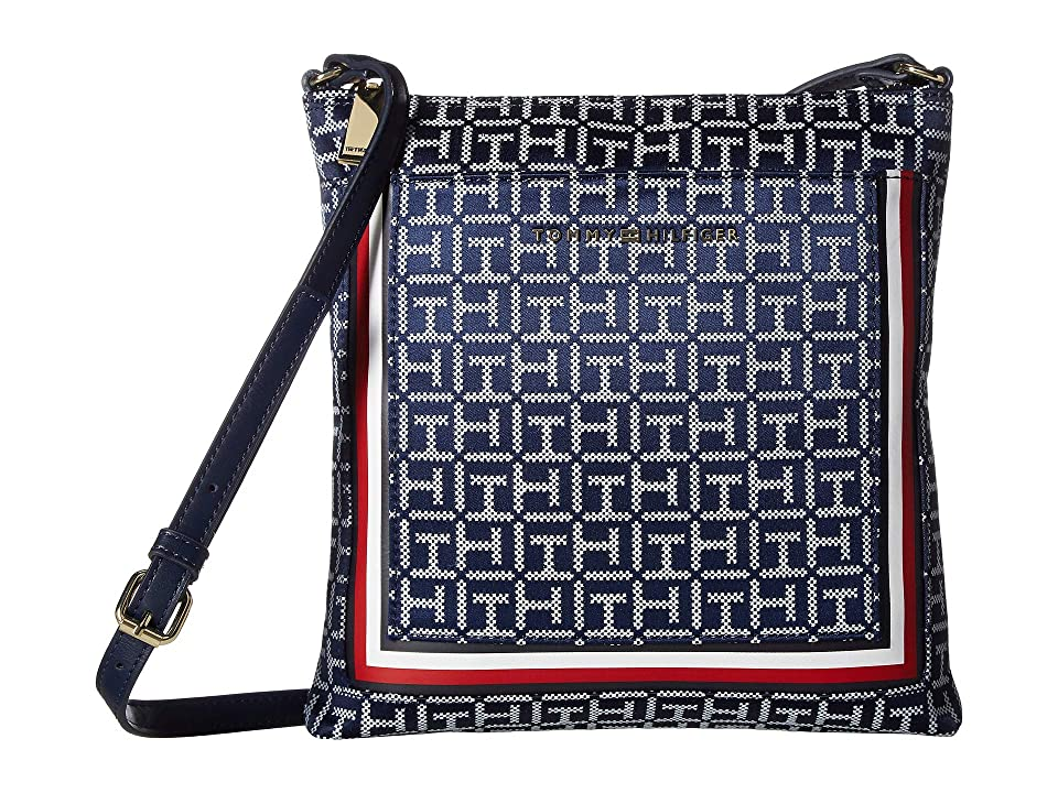 Tommy Hilfiger Carmen North/South Crossbody (Navy/White) Cross Body Handbags