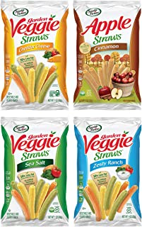 Sensible Portions Veggie Straws, Snack Size Variety Pack, Sea Salt, Ranch, Cheddar, Apple Cinnamon, 1 oz (Pack of 24)