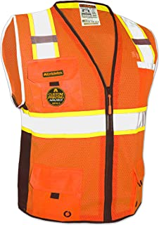 KwikSafety (Charlotte, NC) BIG KAHUNA (11 Pockets) Class 2 ANSI High Visibility Reflective Safety Vest Heavy Duty Mesh with Zipper and HiVis for OSHA Construction Work HiViz Men Orange Black Medium