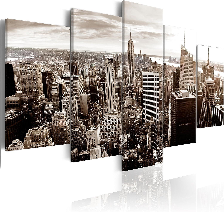 Decomonkey Akustikbild New York 200x100 cm 5 Teilig Bilder Leinwandbilder Wandbilder XXL Schallschlucker Schallschutz Akustikdmmung Wandbild Deko leise Panorama Skyline Stadt