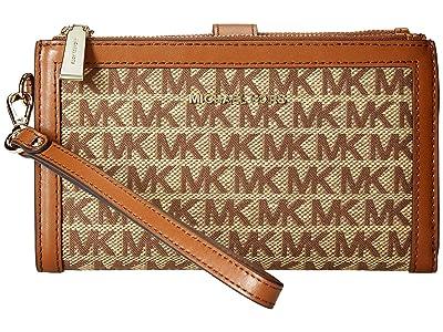 MICHAEL Michael Kors Double Zip Wristlet (Beige/Ebony) Wristlet Handbags