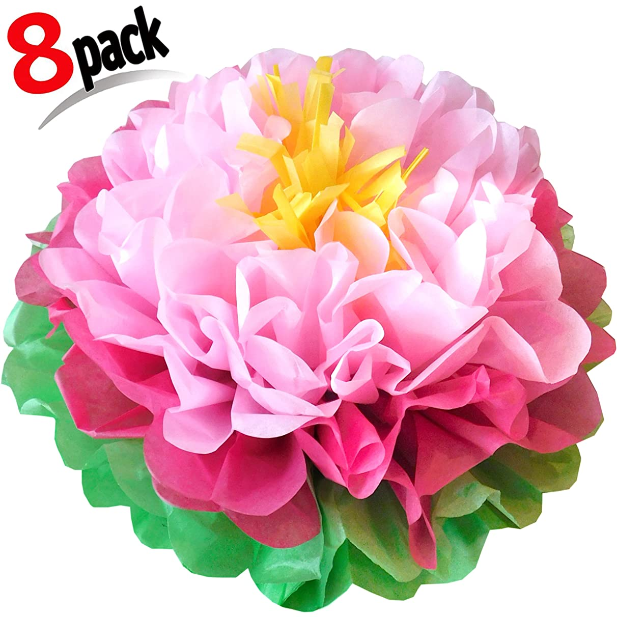 Paper Flowers Pink ! Pack of 8 Pieces Giant 15