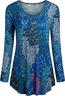 Women Long Sleeve Shirts Ethnic Style Casual Tunic Tops Pleated Blouse