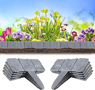 Heveer Borde de Jardín Efecto de Piedra Bordes de Plástico para Jardín Separa Césped del Jardín y Parterres 10 Unidades Gris