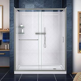 DreamLine Infinity-Z 32 in. D x 60 in. W x 76 3/4 in. H Clear Sliding Shower Door in Brushed Nickel, Right Drain Base, Bac...