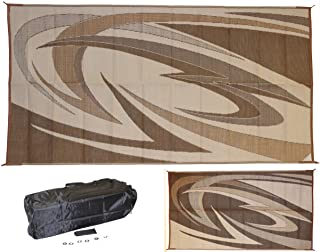 EEZ RV PRODUCTS Reversible/Durable Outdoor Patio/RV Mats - Perfect for Camping, Beach, Picnic in The Park - (9ft. x 18ft, ...