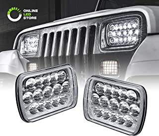 Rectangular 7x6 5x7 H6054 LED Headlight [H4 Plug & Play] [45W] [Sealed Beam] [Low/High Beam] - H6054 H5054 Headlight Set for Jeep Wrangler YJ XJ Cherokee Truck Ford Van (High/Low Beam: 100%/60%)
