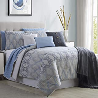 Amrapur Overseas Radiance 10-Piece Comforter and Coverlet Set, King/California King, Grey/Blue
