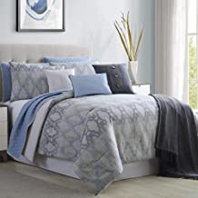 Amrapur Overseas Radiance 10-Piece Comforter and Coverlet Set, King/California King, Grey/Blue