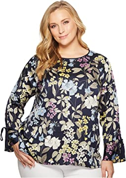 Plus Size Long Sleeve Flare Cuff Country Floral Blouse