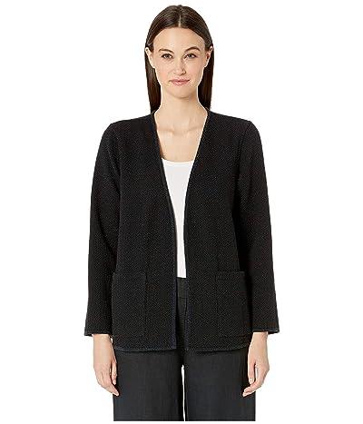 Eileen Fisher Organic Cotton Kimono Bracelet Sleeve Jacket (Black) Women