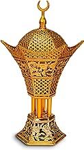 AM Bakhoor Charcoal Incense Burner - Oud Frankincense Resin Burner 10.5 Inches Tall - for Bakhoor Oud Incense Sticks Cones - Luxury Filigree, Silver (Gold)