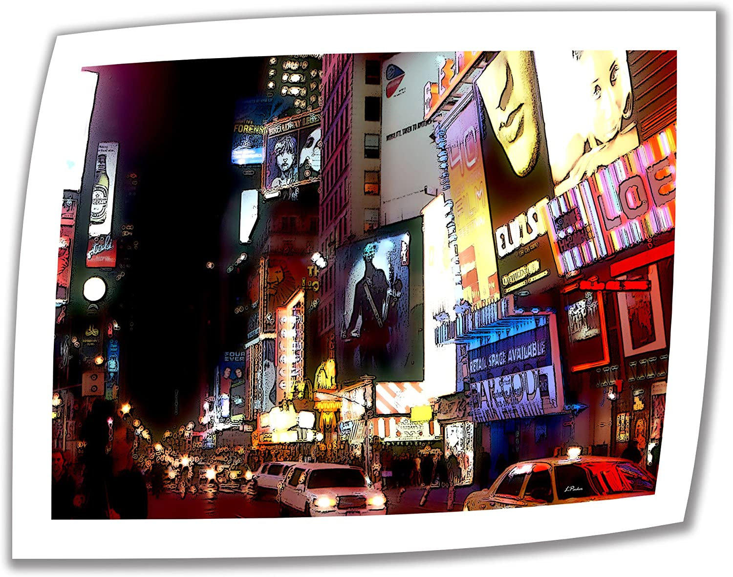 Art Wall NYC Bright Lights Broadway 14 by 18-Inch Unwrapped Canvas Art by Linda Parker with 2-Inch Accent Border