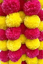Decoration Craft Pack of 5 Artificial Yellow & Dark Pink Marigold Flower Garlands 5 Ft Long, for Parties Indian Weddings Indian Theme Decorations Home Decoration Photo Prop Diwali Indian Festival