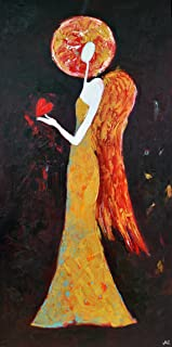 Guardian Angel with Heart Artwork on CANVAS Painting Red Black Yellow Brown and White Wall Art Christmas Angel for Living Room Bedroom Salon Bathroom Kids Adults Original Oil 16x32