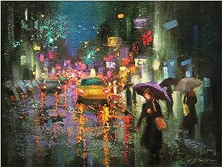Trademark Fine Art Night Rain in Village by Chin H. Shin, 24x32, Multiple Colors