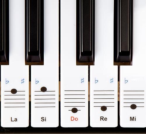 Autocollants Keysies amovibles en plastique transparent pour touches de piano et clavier - avec guide pratique d'inst...