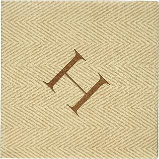 Caspari Natural Jute Paper Linen Boxed Cocktail Napkins in Letter H - Pack of 30