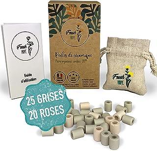 45 Perles de céramique EM®️ pour filtration de l'eau | 25 Grises + 20 Roses | Purificateur/Filtre anti calcaire Zero deche...