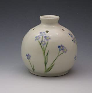 Handmade Porcelain Bud Vase, Essential Oil Reed Diffuser Handpainted in Forget Me Not Pattern