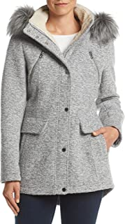 Nautica Women's Novelty Wool Anorak with Faux Fur Trim Hood