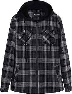 Men's Sherpa Lined Full Zip Hooded Plaid Shirt Jacket