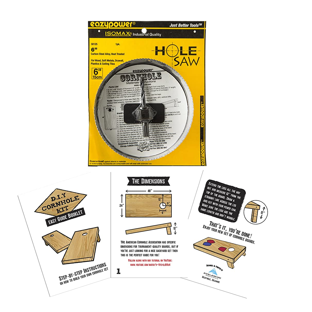 DIY Cornhole Kit - Includes Easy Guide Booklet and Hole Saw