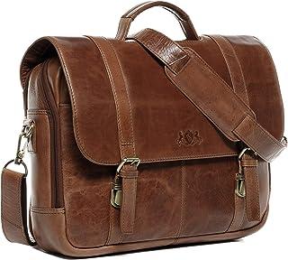 SID & VAIN Lehrertasche echt Leder Spector XL groß Laptoptasche Uni-Tasche Aktentasche College Laptopfach 15.6 Ledertasche Herren braun