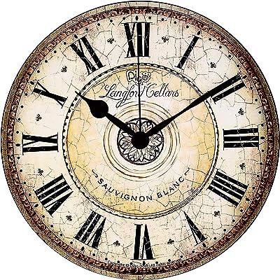 MEISTAR 掛け時計 静音 連続秒針 直径34cm インテリア 壁掛けクロック 木製 見やすい ホーム ベッドルーム キッチン プレゼントオススメ