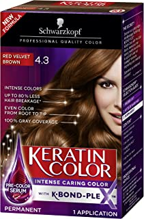 Schwarzkopf Keratin Color Permanent Hair Color Cream, 4.3 Red Velvet Brown