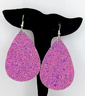 Magenta Glitter Faux Leather Large Teardrop Dangle Earrings