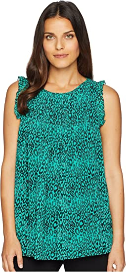Wavy Leopard Pleated Top
