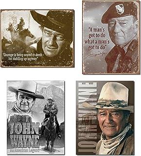 Bundle: Retro Tin John Wayne Sign Set - John Wayne Courage, John Wayne Man's Gotta Do, John Wayne American Legend and John...