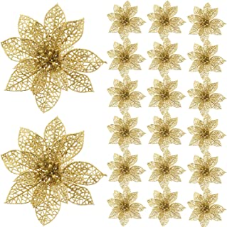 Best SATINIOR 20 Pieces Glitter Christmas Tree Ornaments Artificial Wedding Christmas Poinsettia Flowers for Festival Decoration (Gold) Review