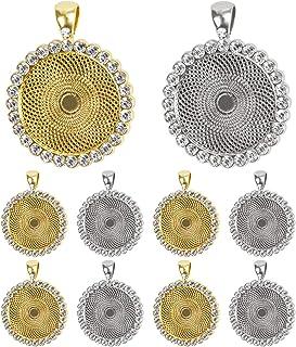 Akamino 10 Pieces Rhinestone Bezel Pendant Trays Cabochon Pendant Setting for Photo Pendant Jewelry Craft DIY Making (Gol...