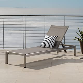 Crested Bay Patio Furniture ~ Outdoor Aluminum Adjustable Chaise Lounge Chair (Grey)