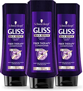 GLISS Hair Repair Conditioner Fiber Therapy, 13.6 Ounces (Pack of 3)