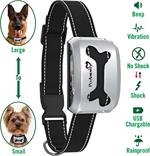 PetAmenity No Barking Control Anti Bark Collar [2019 Ultra], Rechargeable/Rainproof/Reflective, 7 Sensitivity, Beep/Vibration/Safe Shock for Large, Medium, Small Dogs
