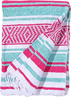 El Paso Designs Mexican Yoga Blanket Colorful 51in x 74in Studio Mexican Falsa Blanket Ideal for