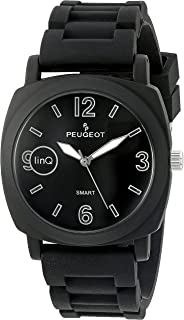linQ Stainless Steel Bluetooth Smart Connected to Mobile Phone Black Leather Dress Watch